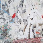venus punishing profane love - acrylics and oils on canvas. 160x100 cm