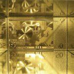 crisis - gold leaf 24k, PVC, glass, gesso, on wood. 12x16x9 cm