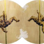 the acrobats - encaustic on wood, acrylics, gold leaf 24k. 76x43,5x2 cm