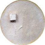 Ascetic - crystal resin, gypsum, PVC, acrylics colors, bronze fiber, on wood. 44x44x4,5