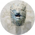 persona (the poet) - gypsum, mirror glass, acrylics colors, iron, stainless steel, paper, wood. 44x44x25,5 cm