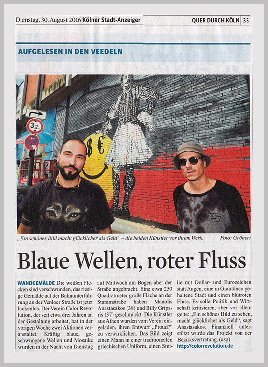 kölner stadt anzeiger newspaper Germany Aug 2016